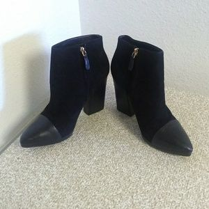 Tory Burch Black Suede/Leather Ankle Boots